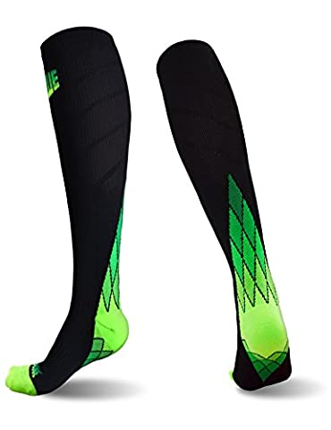 SUGUE Compression Socks (1 Pair) 20-30 mmHg for Women & Men - Best Graduated Athletic Fit for Running, Flight, Nurses, Maternity, Pregnancy - Shin Splints, Medical, Circulation, Recovery (Green,L)