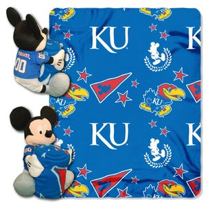 (The Northwest Company Officially Licensed NCAA Kansas Jayhawks Co Disney's Mickey Hugger and Fleece Throw Blanket Set )