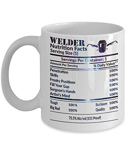 Welder Coffee Mug - Welder Nutrition Facts 11oz 15oz Tea Cup Funny Welding Gift Mother's Father's Day