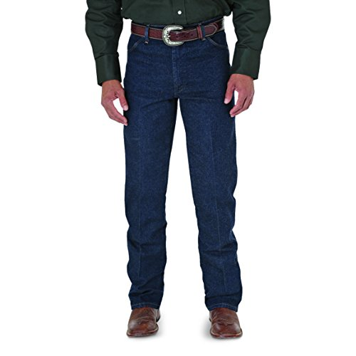 Back Zip Leather Jeans (Wrangler Men's Big Western Regular 5 Pocket Boot Cut Jean, Navy Stretch, 46x34)