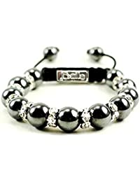 Magnetic Bracelet, Silver Magnetic Hematite with Crystal Accent Beaded Bracelet by Balla