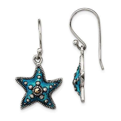 925 Sterling Silver Blue Epoxy Marcasite Star Drop Dangle Chandelier Earrings Celestial Fine Jewelry Gifts For Women For Her