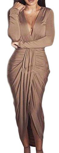 Pure Neck Deep Khaki Womens Long Color Slit Cruiize V Stylish Dresses Ruched PnqXxZPIw