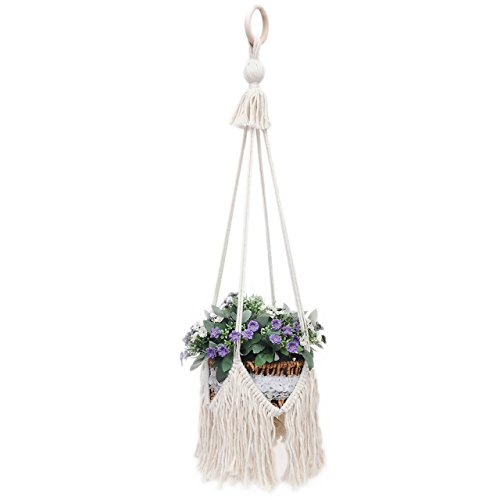 UL Plant Hanger 100% Handmade Cotton Rope Plant Basket Holder for Pots/Fish Tank, Indoor Outdoor Bohemian Home Macrame Hanging Flower Holder, 31 inch(1 Pack)