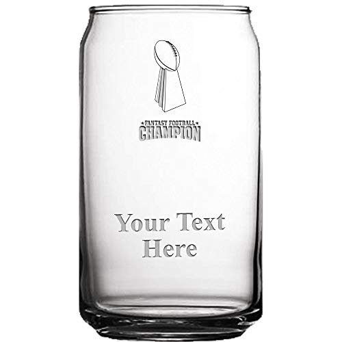(Fantasy Football Custom Engraved Beer Can Glass Award, 19 1/2 oz Personalized Football Champion Beer Glass Gift)