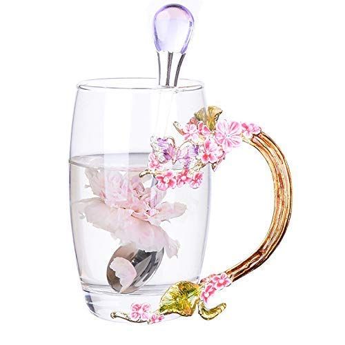 (QIQIHOME Women's Unique Novelty 3d Flower Glass Coffee Mugs Cups With Spoon Perfect for Espresso, Water, Juice, Tea, Hot Drinks, Latte, Milk WITH Luxury Gift Box (Plum blossom red tall, 12cm tall))