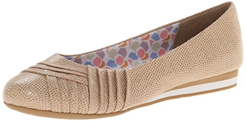 Soft Style Womens Corrie Flat New Taupe Lizard Fabric