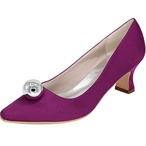 Loslandifen Womens Fermé-orteil Stiletto Talon Dentelle Mariage Chaussures De Mariée Violet