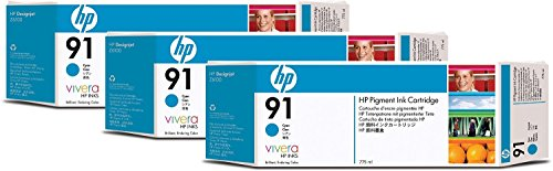 Genuine Original HP 91 3-pack 775-ml Light Cyan DesignJet Pigment Ink Cartridges for HP DesignJet Z6100 and Z6100ps - Sealed in Retail Packaging (C9486A)