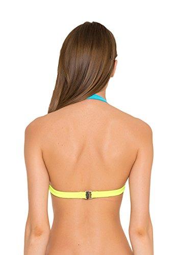 GLIDESOUL de 0,5mm de las mujeres Halter cuello Bikini parte superior Blue/Lemon