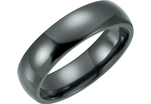 Black Titanium 6mm Comfort Fit Dome Band Size 8 by The Men's Jewelry Store