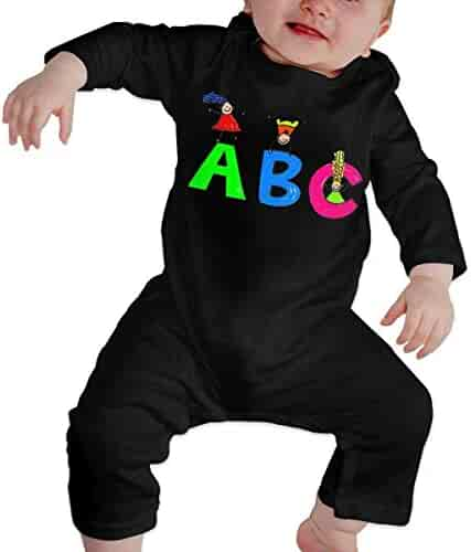 f371a6c86 willeing ABC Boy and Girl Baby Crawler 100% Cotton Long Sleeve Jumpsuits  Black