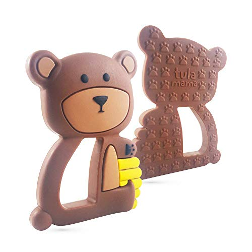 Teething Toys and Teethers by Tulamama. Bendable & Freezer Friendly. Highly Recommended by Moms. 100% Silicone (Similar to Nipples & Pacifiers), BPA & Phthalates Free, FDA Compliant. Bear