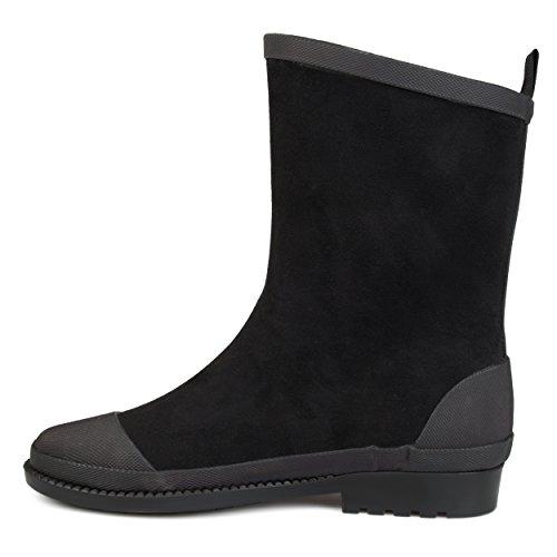 Brinley Co Femmes Keek Caoutchouc Cap-toe Imperméable Simili Daim Rainboots Noir