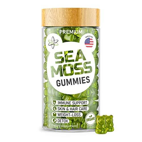 Irish Sea Moss Gummies – Organic Vegan Seamoss Bladderwrack Burdock Root Supplement – Natural Thyroid Support & Immune…