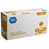 Medpride Medical Vinyl Examination Gloves   Latex and Powder Free   Disposable, Ultra-Strong, Clear   Food Handling Use