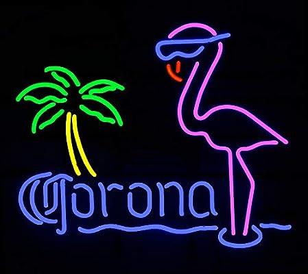 Corona Flamingos Beer Bar Pub Store Party Recreation Room Wall Windows Display Neon Signs