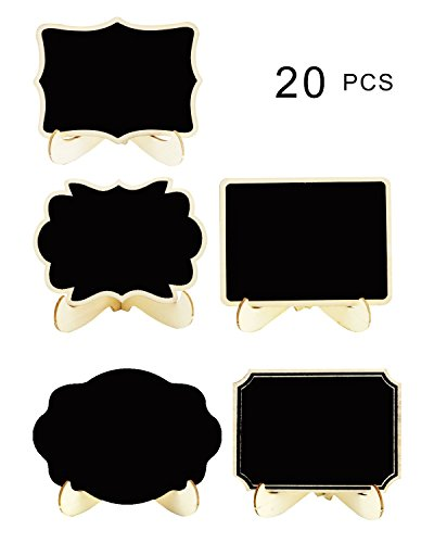 SBYURE 20 Pack Wood Mini Chalkboards Signs with Easel Stand,Wood Small Blackboard Signs Place Cards for Weddings,Parties, Table Numbers, Food Signs,Plant Decorative Sign and Special Event Decoration