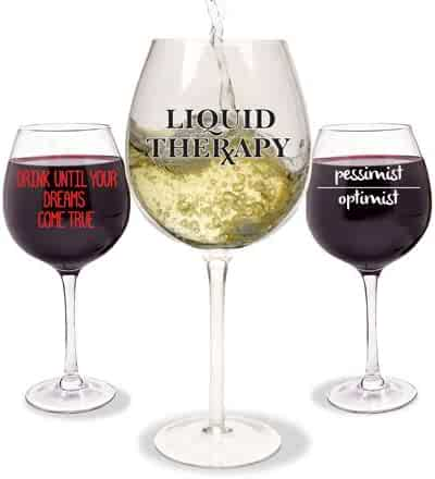 Wine-isms XL Wine Glass Drink Until Your Dreams Come True
