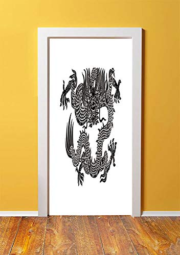 (Japanese Dragon 3D Door Sticker Wall Decals Mural Wallpaper,Legendary Ancient Fantasy Figure Art Symbolic Character Monochrome Design Decorative,DIY Art Home Decor Poster Decoration 30.3x78.10585,Blac)