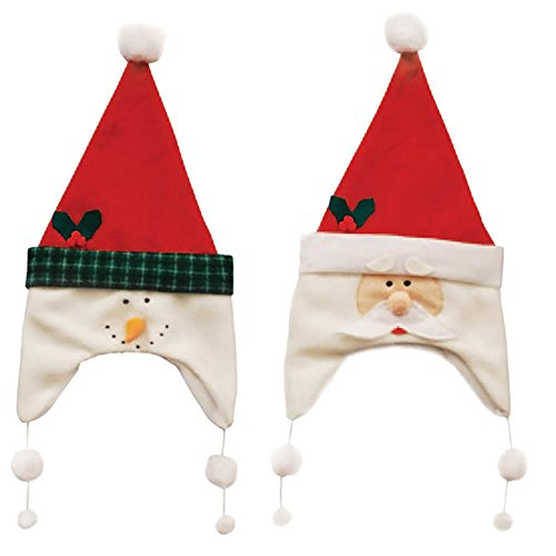 [Holiday Hats - Set of 2 Holiday Party Hats - (1) Snowman and (1) Santa - 8.25