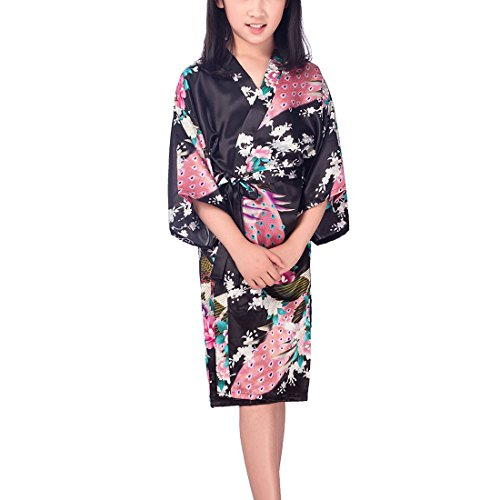 Girls' Peacock Bird & Flower Satin Kimono Wrap Sleepwear Robe Bathrobe Short Black (Bird Image Wrap)