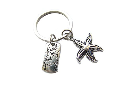 Find Joy in The Journey Starfish keychain, Starfish gifts key ring