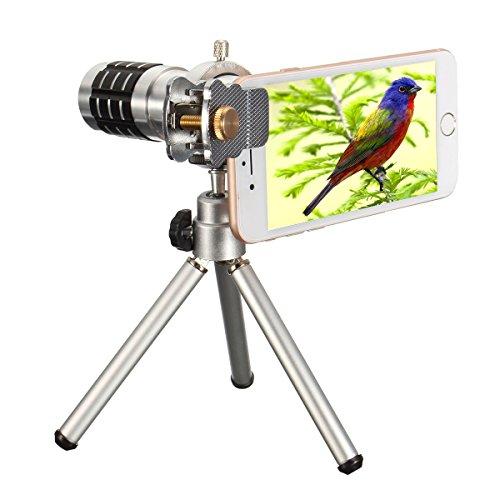 12X Kamera-Objektiv-Set mit Mini Stativ, Hizek Optisches Zoomobjektiv Handy Linse Smartphone Weitwinkel Teleobjektiv Set für iPhone, Samsung Galaxy Note, Sony, Nexus, HTC