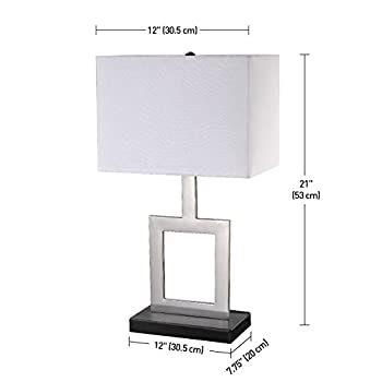 """Globe Electric 11388 Table Lamp, 21"""", Brushed Nickel"""