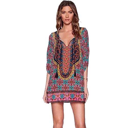Culater® Imprimir Mujeres de verano flojo Vintage Patrón vestido PfPrwq