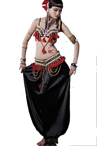 ZLTdream Women's Tribal Belly Dance Bra and Hip Scarf with Fringe 2pcs/Set< Black-red ()