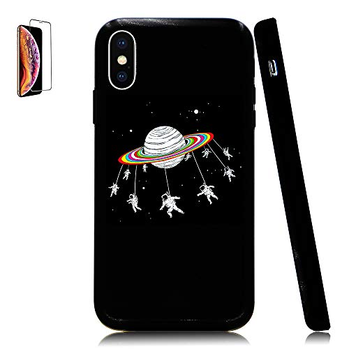 Lartin Astronauts Merry-Go-Round Planet Space Soft Flexible Jellybean Gel TPU Case for iPhone Xs Max