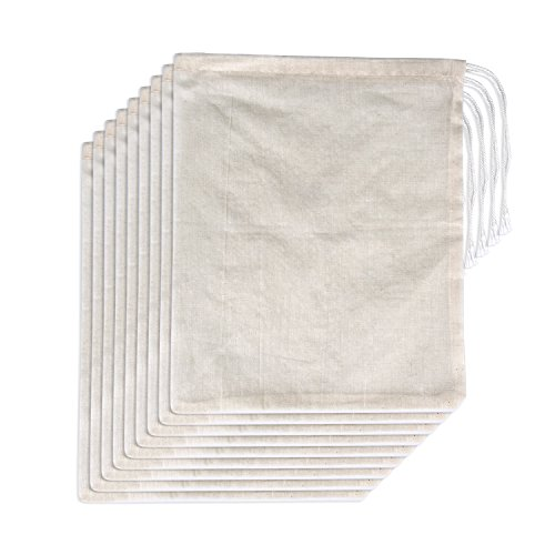 Cotton Drawstring Tie - Pangda 15 Pack Cotton Muslin Bags with Drawstring, Natural Color, 10 x 8 Inches