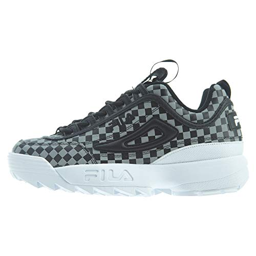 (Fila Women's Disruptor II Sneaker (11, Checker- Black/Metallic Silver/White))