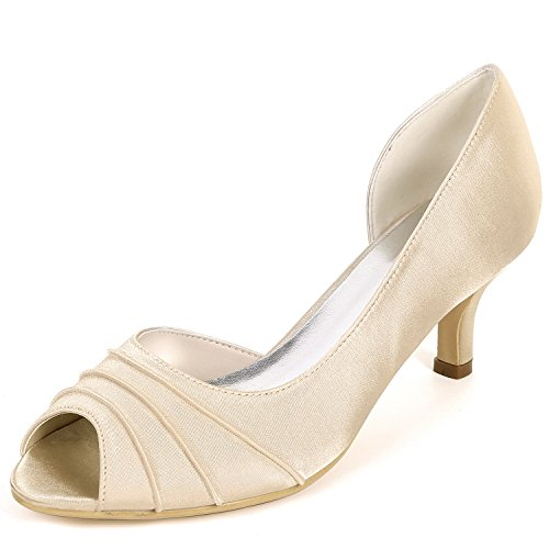 De En Grueso Pies Las Nuevos 6cm Flores Champagne Bombas Zapatos Blancos Pío Los Eleoulck corte Tacón Mujeres Boda 5vR4wqx