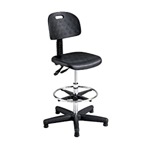 Safco Products 6912 Soft Tough Extended Height Deluxe Workbench Chair (Additional options sold separately), Black