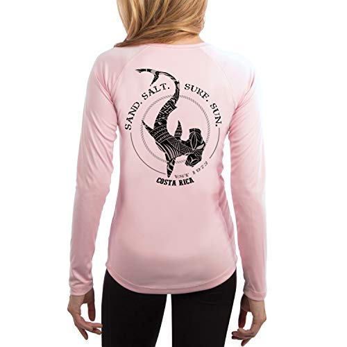 SAND.SALT.SURF.SUN. Costa Rica Polynesian Hammerhead Tribal Women's UPF 50+ Long Sleeve T-Shirt Large Pink ()
