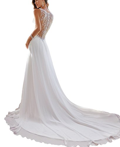 BONBETE Deep V Neck Beaded Sheer Back Long Chiffon White Crystal ...