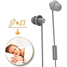 MAXROCK Sleeping Headphones, In-ear Soundproof Earplug Soft Earbuds with Mic Noise Cancelling Sleep Earphones Earpods for Side Sleeper, Insomnia, Snoring, Air Travel, Bedtime Listening… (gray)