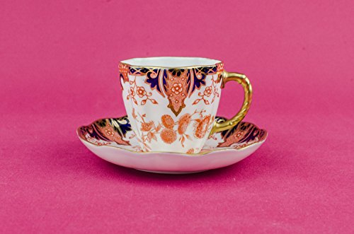 Art Deco Bone China Saucer COFFEE CUP Floral Royal Crown Derby Gift Vintage Classical Orange Party English Circa 1920 LS