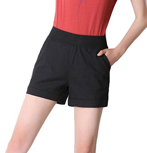 Vita Da Donna Pantaloni Bermuda Pantaloncini Da Plus Elastico In Nero Size Corti YiLianDa Donna Corti g7BxFF