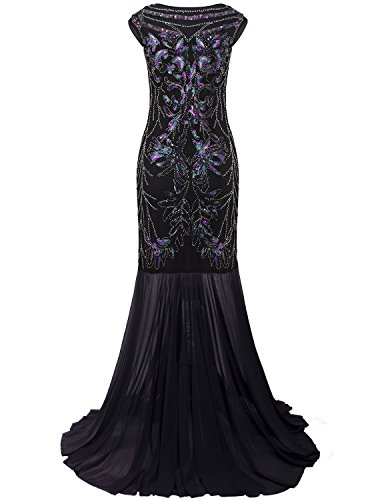 Vijiv 1920s Long Prom Dresses V Neck Beaded Sequin Gatsby ...