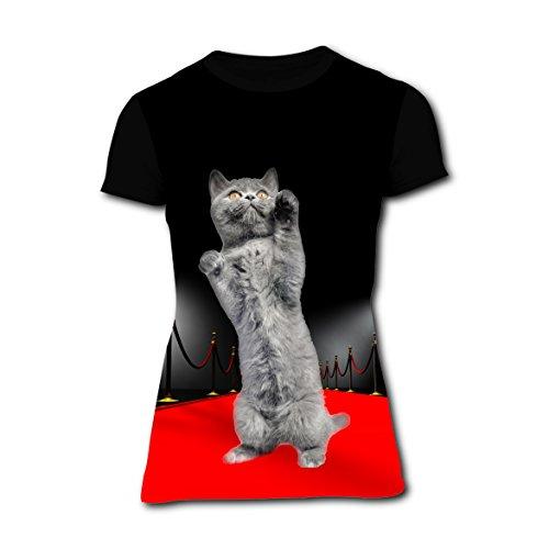 Red Carpet Cat Star Kitten Design T-Shirt Slim Tee Tops for Women M -
