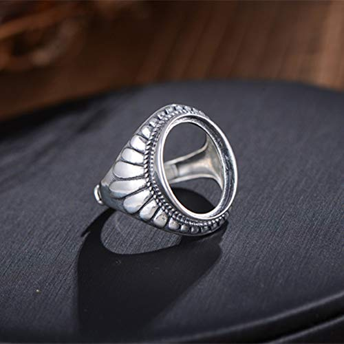 (Ring Blank (10x14mm/12x16mm/13x18mm Oval Blank) Adjustable Thai Sterling Silver Ring Base Oval Cabochon Ring Setting R871B (Blank 13x18mm))