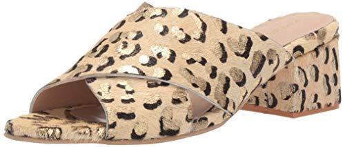 KAANAS Women's Brighton Metallic Open Toe Slide Low Block Heel Pump, Leopard, 8 Regular US