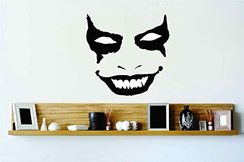 Top Selling Decals - Prices Reduced : Evil Scary Smiling Joker Face Mask Vinyl Wall Peel & Stick Sticker Home Halloween Party Decoration Kids Boy Girl Teen Dorm Room Children - 22 Colors Available For Savings 20x20