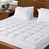 JURLYNE Pillowtop Mattress Pad Cover Queen Size - Hypoallergenic - Cotton Down Alternative Filled Mattress Topper