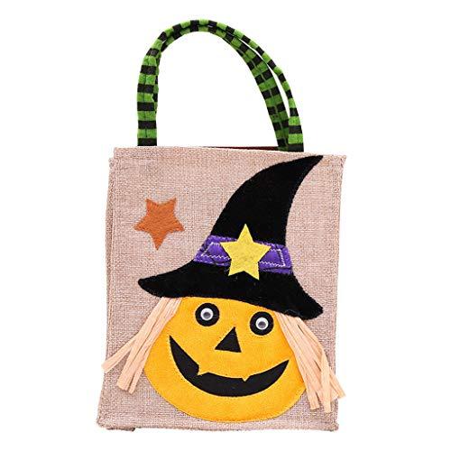 Shaoge Halloween Pumpkin Candy Bag Handbag Black Cat Witches Kids Portable Tote Prop Decor Presents Gift ()