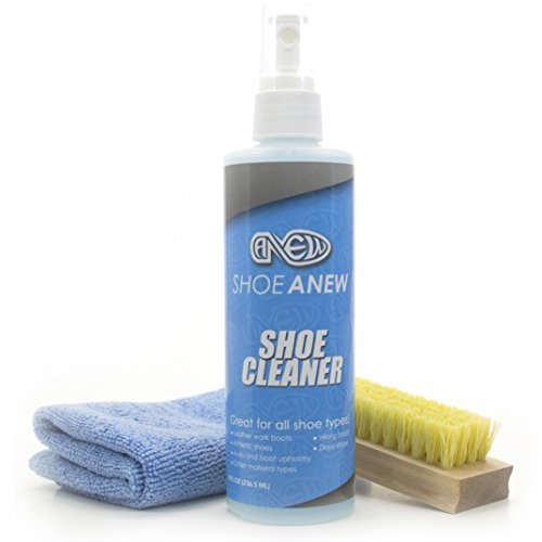Shoe Cleaner Kit - ShoeAnew Bundle, 8 Oz. Fabric Cleaner Solution, Microfiber Cloth, and Brush
