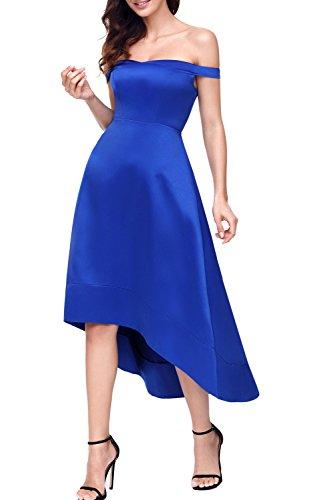 Alvaq Femmes Au Large Épaule Haute Robe Décolletée Midi Swing Ourlet Bleu